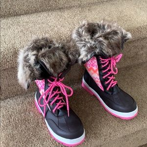 Girl's Justice Boots Size 3M Brown/Pink Fauz Fur